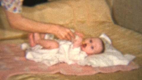 Mother Gives Baby Girl Her Bottle 1939 Vintage 8mm film Stock Video Footage