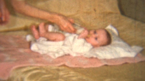 Mother Gives Baby Girl Her Bottle 1939 Vintage 8mm film Footage