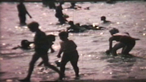 Kids Playing At The Beach 1966 Vintage 8mm film Stock Video Footage