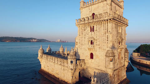 Belem Tower at morning Lisbon aerial view ビデオ