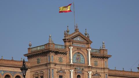 Spanish Flag On Spanish Royal Palace Live Action