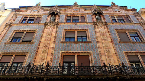 The old, beautiful house on Vaci Street in Budapest Footage