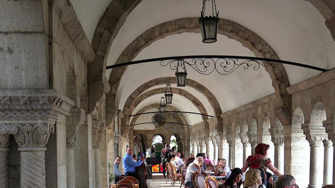The restaurant at Fisherman's Bastion in Budapest Footage