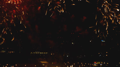 Fireworks over night city Footage