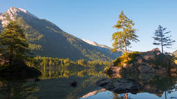 Dawn of the Mountain Forest Lake Hintersee. Time Lapse 4K Footage