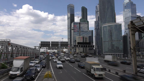 Moscow International Business Center, busy traffic time lapse of Third Ring Road Footage