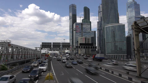 Moscow International Business Center, busy traffic time… Stock Video Footage