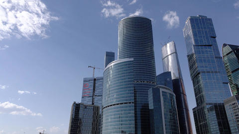 Moscow City, International Business Center skyscrapers, tracking shot Footage