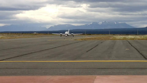 Private jet landing on the airport of Puerto Natales, Chile Footage