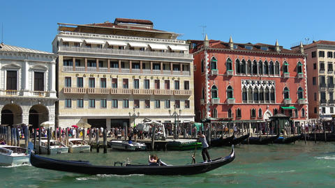 The Riverside in the historic city center in Venice Footage