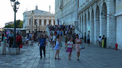 Busy area Riva degli Schiavoni in Venice San Marco Footage
