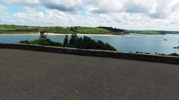 Panning view over the river camel estuary in Cornwall on a sunny summers day Footage