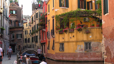 Colorful Italian style buildings in Venice Footage