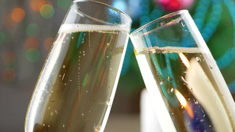 Clink Glasses with Pouring and Foaming Champagne Footage