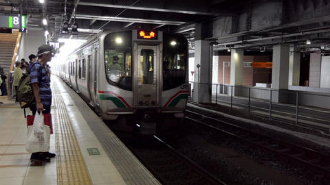 Japanese Train Entering The Train Station In Sendai Japan Asia Live Action