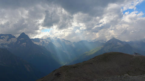 View mountains scenes in national park Dombai, Caucasus, Russia, Europe Live Action