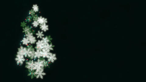 Animated closeup Christmas tree on dark blue background Animation