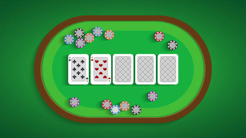 Poker table with a combination of two pairs Live Action