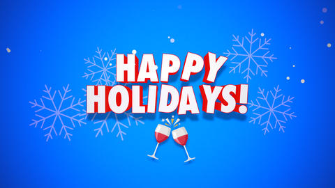 Animated closeup Happy Holidays text on blue background Animation