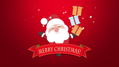 Animated closeup Merry Christmas text, Santa Claus with gift boxes Animation
