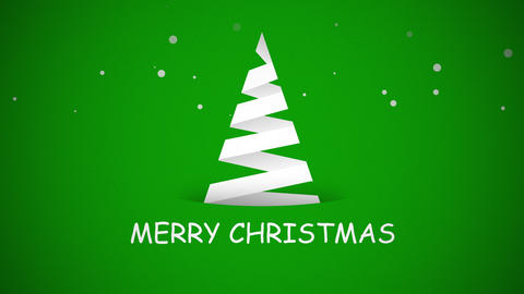 Animated closeup Merry Christmas text, white Christmas tree on green background Videos animados