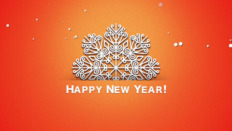 Animated closeup Happy New Year text, white snowflakes on orange background Videos animados