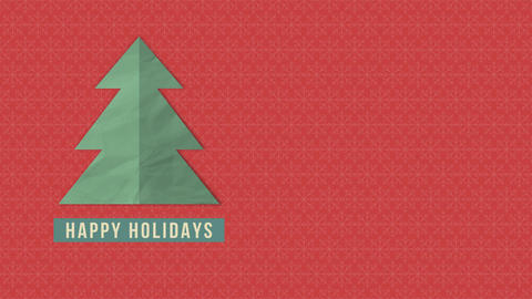 Animated close up Happy Holidays text, green Christmas tree on red background Videos animados