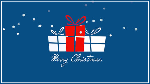 Animated closeup Merry Christmas text, three gift boxes on blue background Videos animados