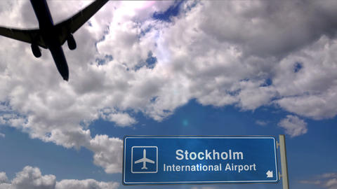 Airplane landing at Stockholm Live Action