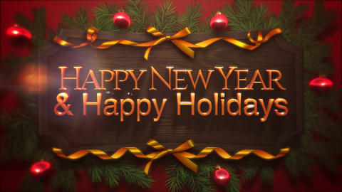 Animated close up Happy New Year and Happy Holidays text Animation