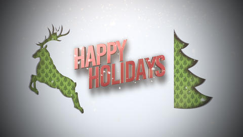 Animated closeup Happy Holidays text, green Christmas tree and deer on snow Animation