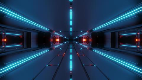 dark futuristic space tunnel corridor 3d rendering live... Stock Video Footage