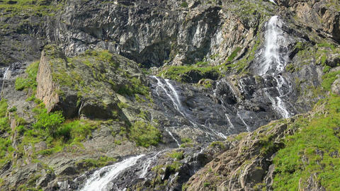 View waterfall scenes in mountains, national park Dombai, Caucasus, Russia Footage