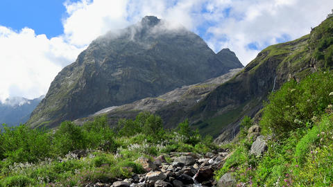 View mountains scenes in national park Dombai, Caucasus, Russia, Europe Footage