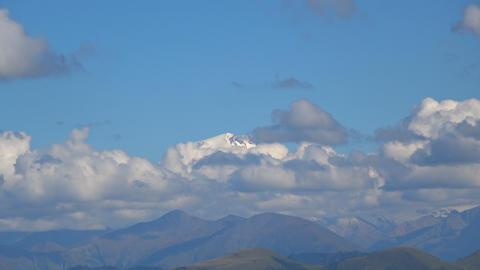 View mountain Elbrus scenes in national park Dombai, Caucasus, Russia, Europe Footage