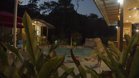 Beautiful Rustic Lodge At Sunset In The Ecuadorian Amazon Reveal Shot Live Action
