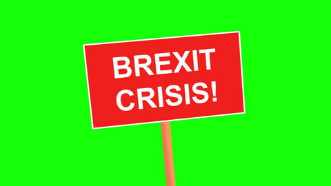 BREXIT CRISIS placard animated on green background. Simply replace the green screen with your own Animation