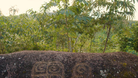 Sacred Stones With Inscriptions In An Indigenous Community Detail Shot Live Action