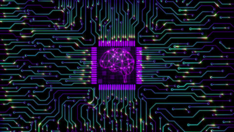Brain electronic circuit board (Loop) Animation