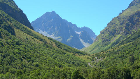 View scenes in mountains, national park Dombay, Caucasus, Russia, Europe Live Action