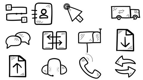 Set of hand-drawn gadget service icons Animation