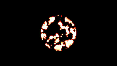 Symbol globe asia burns out of transparency, then burns again. Alpha channel Premultiplied - Matted Animation