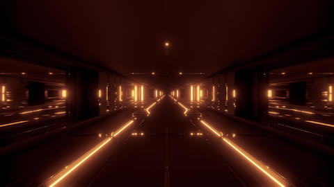 futuristic sci-fi tunnel corridor building with hot metal 3d illustration live Animation