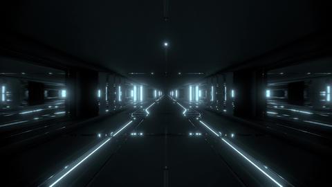 futuristic sci-fi tunnel corridor building with hot metal 3d illustration live Animation