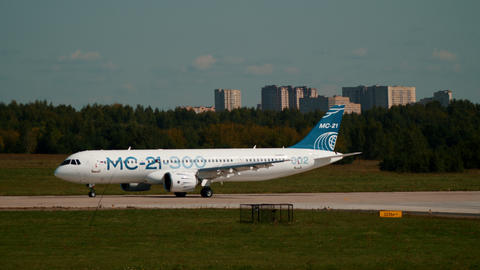 30 AUGUST 2019 MOSCOW, RUSSIA: A big passenger airplane MC-21 300 landing on the Footage
