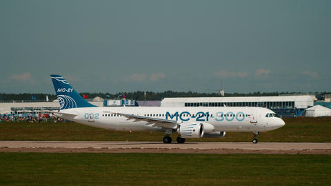 30 AUGUST 2019 MOSCOW, RUSSIA: A big passenger airplane MC-21 300 taking off the Footage