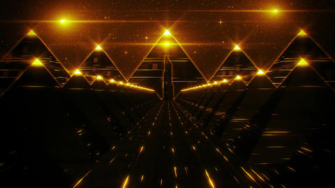 3D Gold Sci-Fi Pyramids Tunnel Loop Motion Background Animation