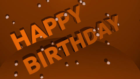 Happy birhtday 3d letters and flying soap bubbles. Color changing video Animation