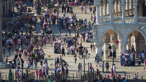 Tourists on St. Mark´s Sqaure in Venice San Marco - busy place Footage