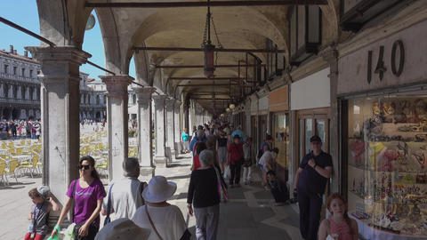 Exclusive cafes at St Mark´s Sqaure San Marco Venice Footage